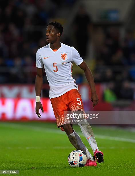 Terence Kongolo of Netherlands in action during the friendly International match between Wales and Netherlands at Cardiff City Stadium on November 13...
