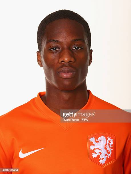 Terence Kongolo of Netherlands poses during the official FIFA World Cup 2014 portrait session on June 7 2014 in Rio de Janeiro Brazil