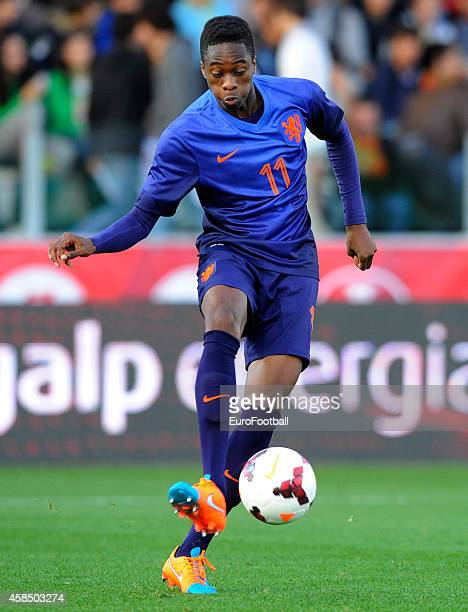 Terence Kongolo of the Netherlands in action during the UEFA U21 Championship second leg playoff between Portugal and Netherlands at the Mata Real...