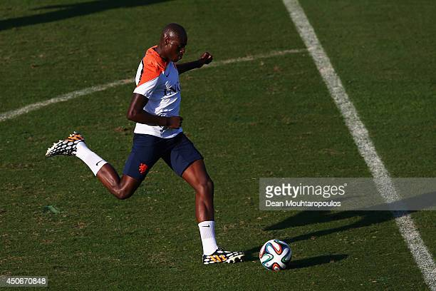 Terence Kongolo shoots on goal during the Netherlands training session at the 2014 FIFA World Cup Brazil held at the Estadio Jose Bastos Padilha...