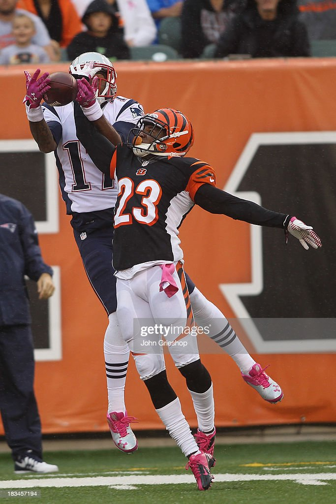Terence Newman #23 of the Cincinnati Bengals breaks up a pass intended for Aaron Dobson #17 of the New England Patriots during their game at Paul Brown Stadium on October 6, 2013 in Cincinnati, Ohio. The Bengals defeated the Patriots 13-6.