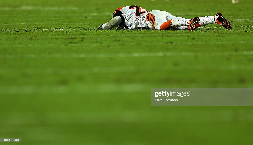 Terence Newman #23 of the Cincinnati Bengals reacts to a pass interference call during a game against the Miami Dolphins at Sun Life Stadium on October 31, 2013 in Miami Gardens, Florida.