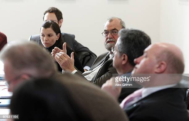 Teresa Enke and some attendees discuss during a meeting on the initiative 'Childhood Dreams' at the headquarters of the German football association...