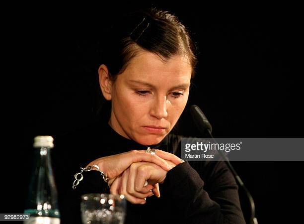 Teresa Enke attends the press conference at the AWD Arena on November 11 2009 in Hanover Germany Enke goalkeeper for Hannover 96 and the German...
