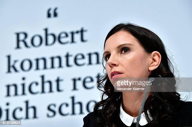 Teresa Enke wife of former German national goalkeeper Robert Enke presents the 'EnkeApp' during a press conference at HDIArena on October 10 2016 in...