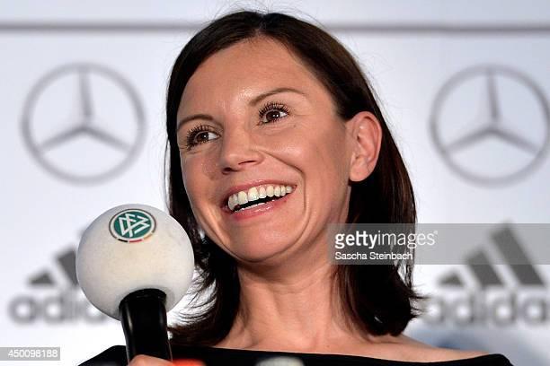 Teresa Enke wife of former goalkeeper Robert Enke and head of the Robert Enke foundation reacts during social activities press conference of the...