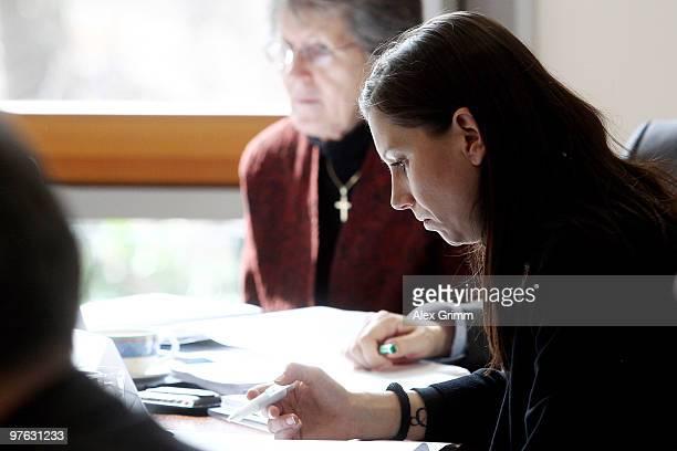 Teresa Enke wife of former goalkeeper Robert Enke and head of the Robert Enke foundation attends a meeting on the initiative 'Childhood Dreams' at...