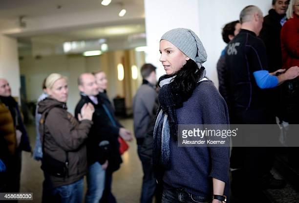 Teresa Enke wife of Robert Enke arrives at the special exhibition 'ROBERT gedENKEn' at State Museum on November 9 2014 in Hanover Germany The...