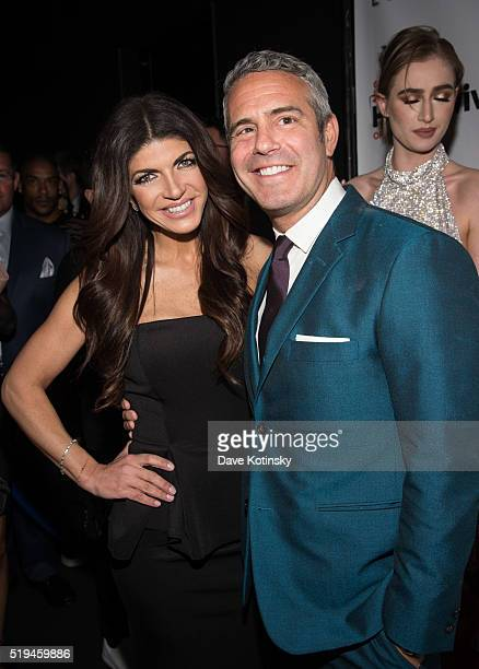 Teresa Giudice and Andy Cohen attend the 'The Real Housewives Of New York City' Screening Party at 42 West on April 6 2016 in New York City