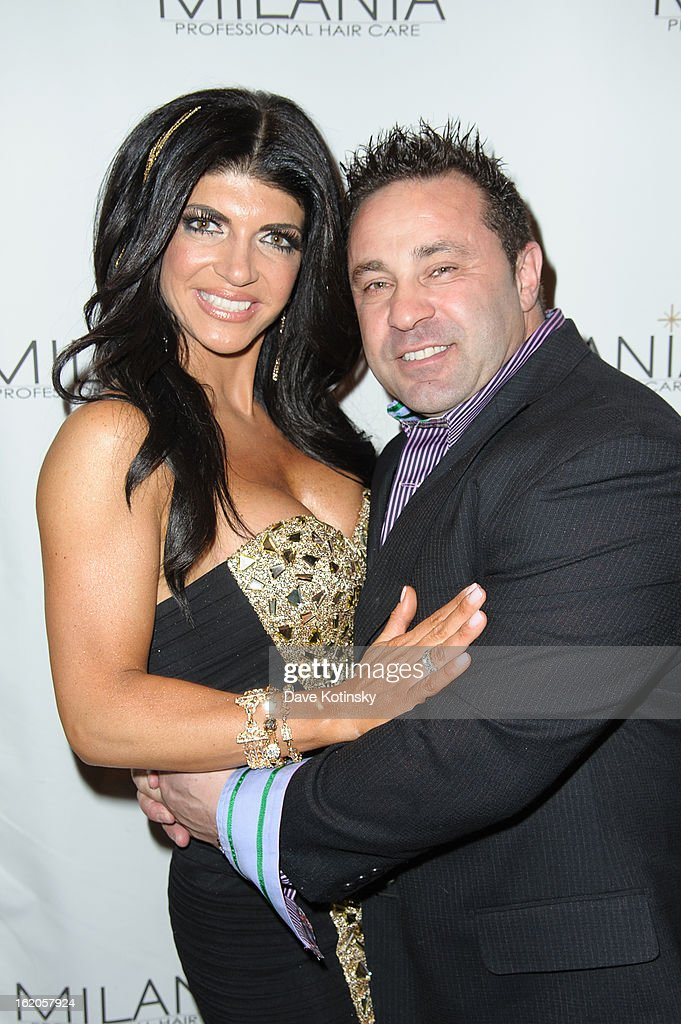 Teresa Giudice and Joe Giudice attends the Milania Professional Hair Care Launch Party at Stone House At Stirling Ridge on February 18, 2013 in Warren, New Jersey.