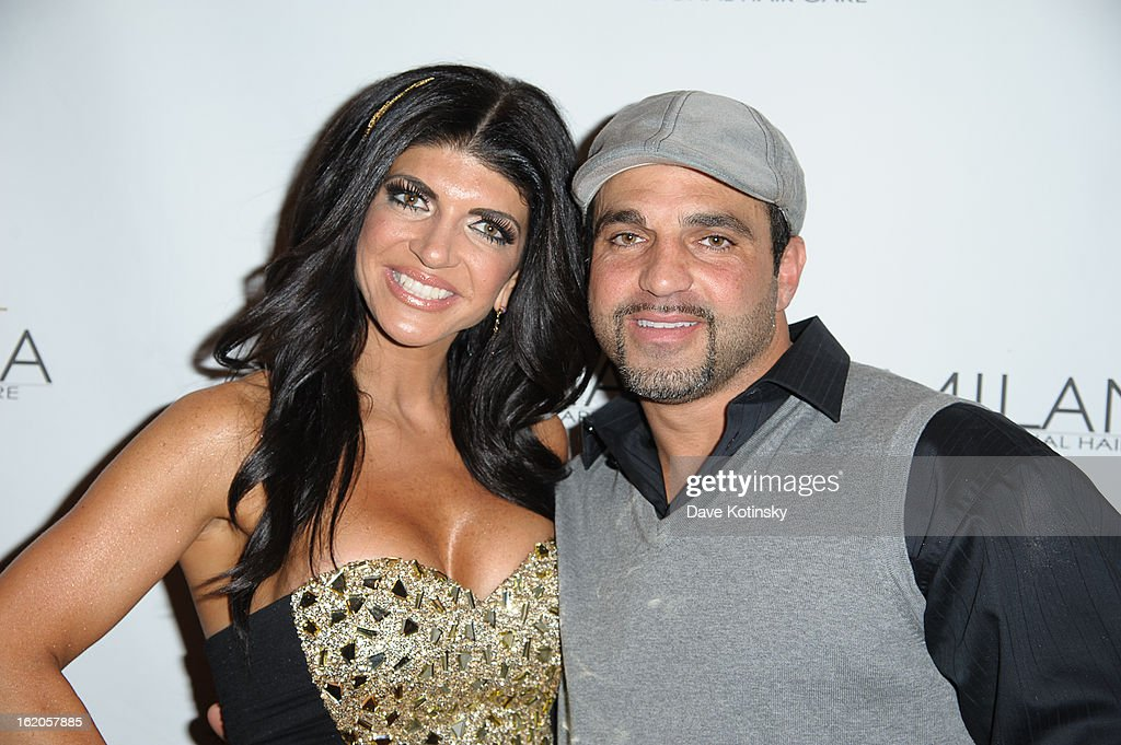 Teresa Giudice and Joe Gorga attend the Milania Professional Hair Care Launch Party at Stone House At Stirling Ridge on February 18, 2013 in Warren, New Jersey.