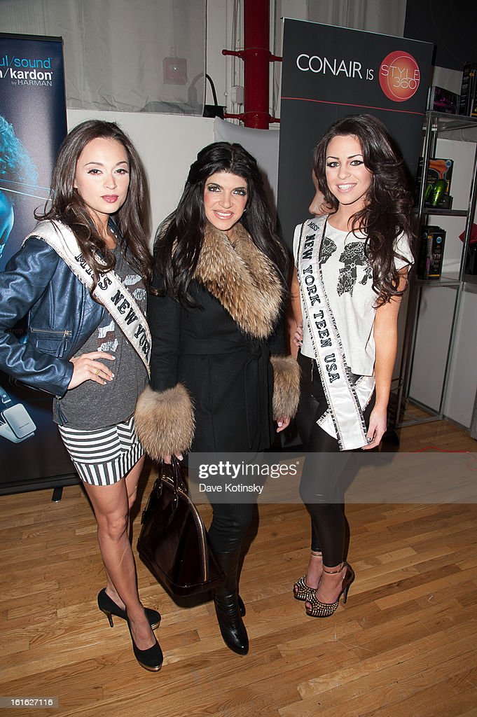 Teresa Giudice (C) arrives at the Boy Meets Girl By Stacy Igel 2013 Style360 Fashion Show at Style360 on February 13, 2013 in New York City.