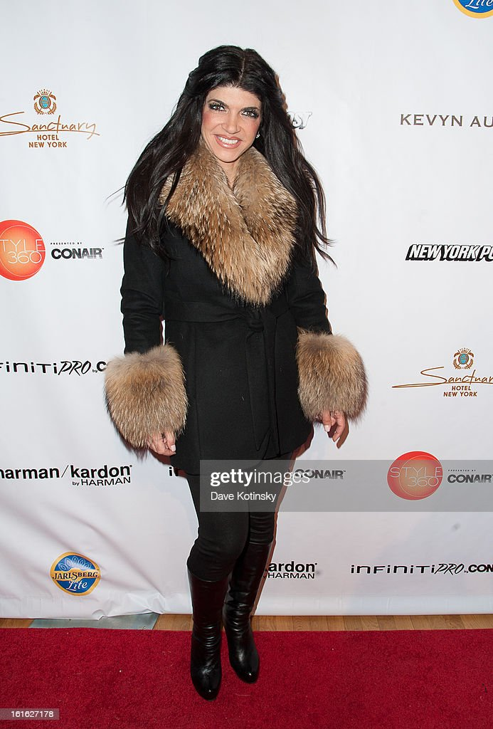 <a gi-track='captionPersonalityLinkClicked' href=/galleries/search?phrase=Teresa+Giudice&family=editorial&specificpeople=5912953 ng-click='$event.stopPropagation()'>Teresa Giudice</a> arrives at the Boy Meets Girl By Stacy Igel 2013 Style360 Fashion Show at Style360 on February 13, 2013 in New York City.