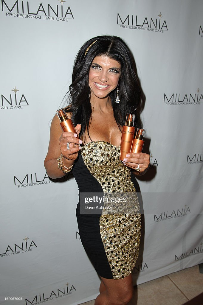 <a gi-track='captionPersonalityLinkClicked' href=/galleries/search?phrase=Teresa+Giudice&family=editorial&specificpeople=5912953 ng-click='$event.stopPropagation()'>Teresa Giudice</a> attends the Milania Professional Hair Care Launch Party at Stone House At Stirling Ridge on February 18, 2013 in Warren, New Jersey.