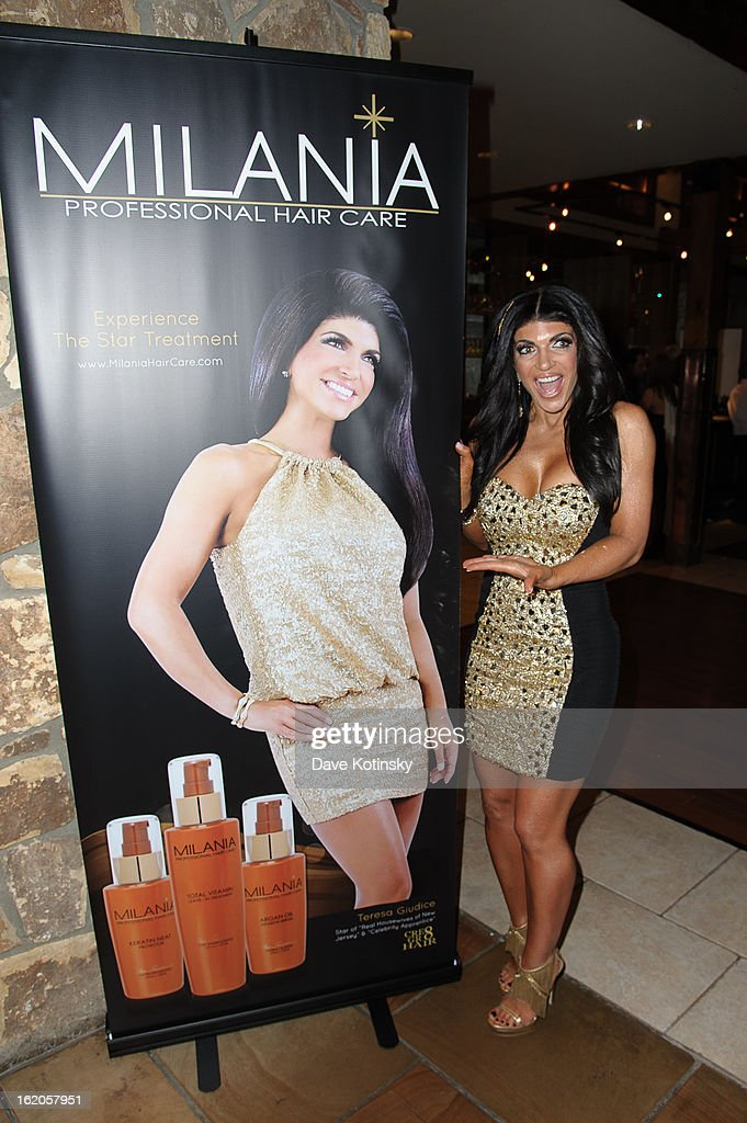 Teresa Giudice attends the Milania Professional Hair Care Launch Party at Stone House At Stirling Ridge on February 18, 2013 in Warren, New Jersey.