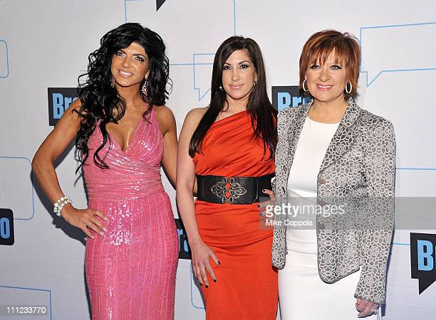 Teresa Giudice Jacqueline Laurita and Caroline Manzo attend the 2011 Bravo Upfront at 82 Mercer on March 30 2011 in New York City