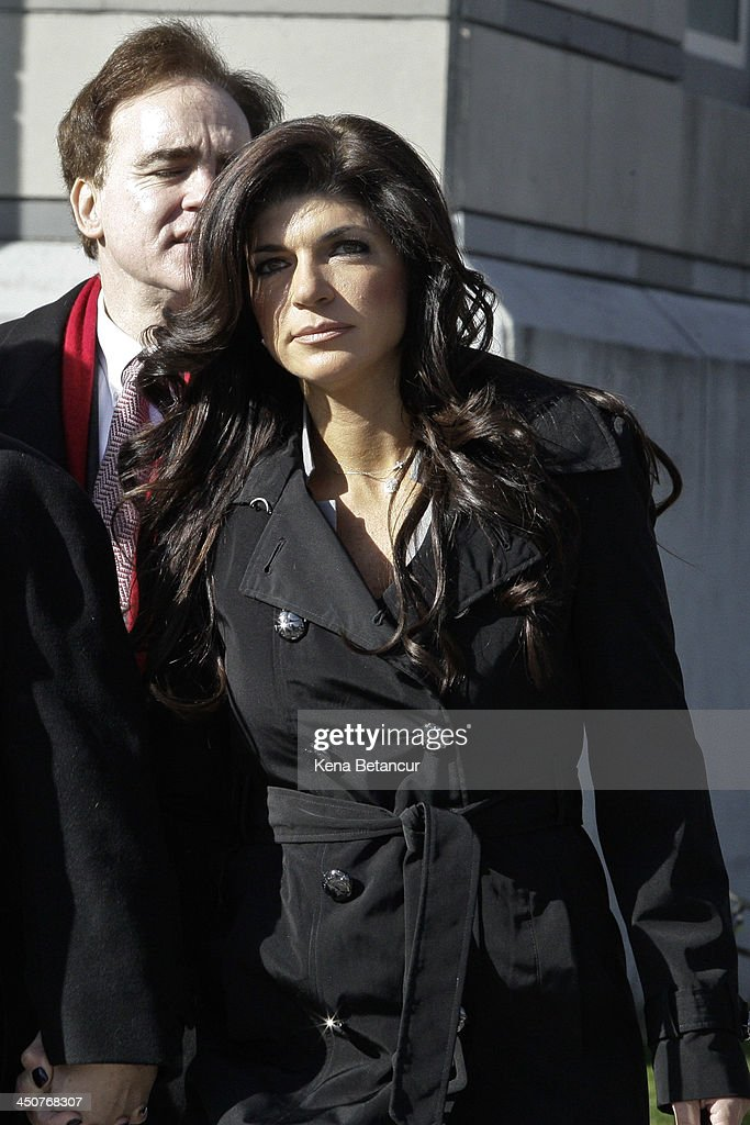 <a gi-track='captionPersonalityLinkClicked' href=/galleries/search?phrase=Teresa+Giudice&family=editorial&specificpeople=5912953 ng-click='$event.stopPropagation()'>Teresa Giudice</a> leaves Newark federal court on November 20, 2013 in Newark, New Jersey. The two of the stars of the Bravo television show 'The Real Housewives of New Jersey' are appearing in court to face additional charges of bank fraud and loan application fraud in addition to original charges of defrauding lenders, illegally obtaining mortgages and other loans as well as allegedly hiding assets and income during a bankruptcy case.