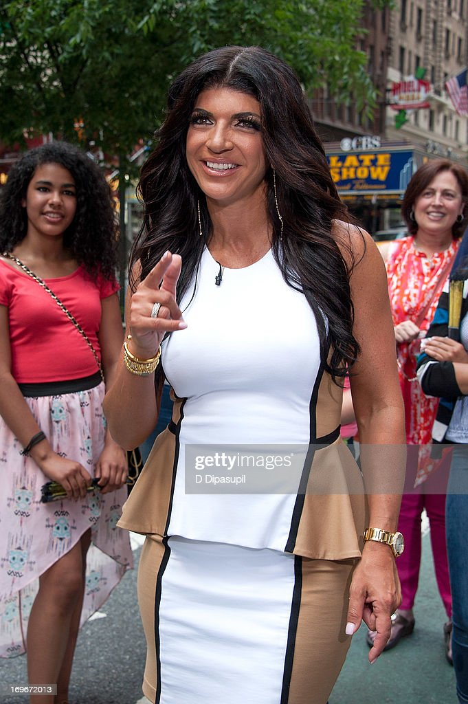 <a gi-track='captionPersonalityLinkClicked' href=/galleries/search?phrase=Teresa+Giudice&family=editorial&specificpeople=5912953 ng-click='$event.stopPropagation()'>Teresa Giudice</a> of 'Real Housewives of New Jersey' visits 'Extra' in Times Square on May 30, 2013 in New York City.