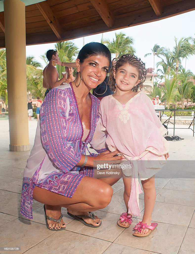 Teresa Giudice poses with daughter Audriana Giudice at Majestic Resort on March 4, 2013 in Punta Cana, Dominican Republic.