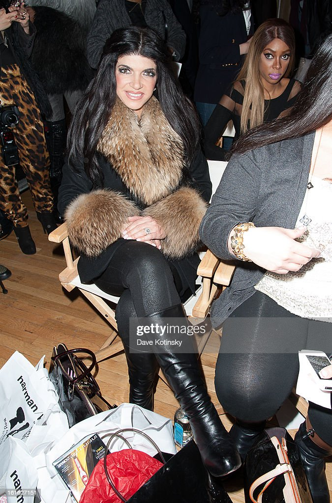 Teresa Giudice sits in front row at the Boy Meets Girl By Stacy Igel 2013 Style360 Fashion Show at Style360 on February 13, 2013 in New York City.