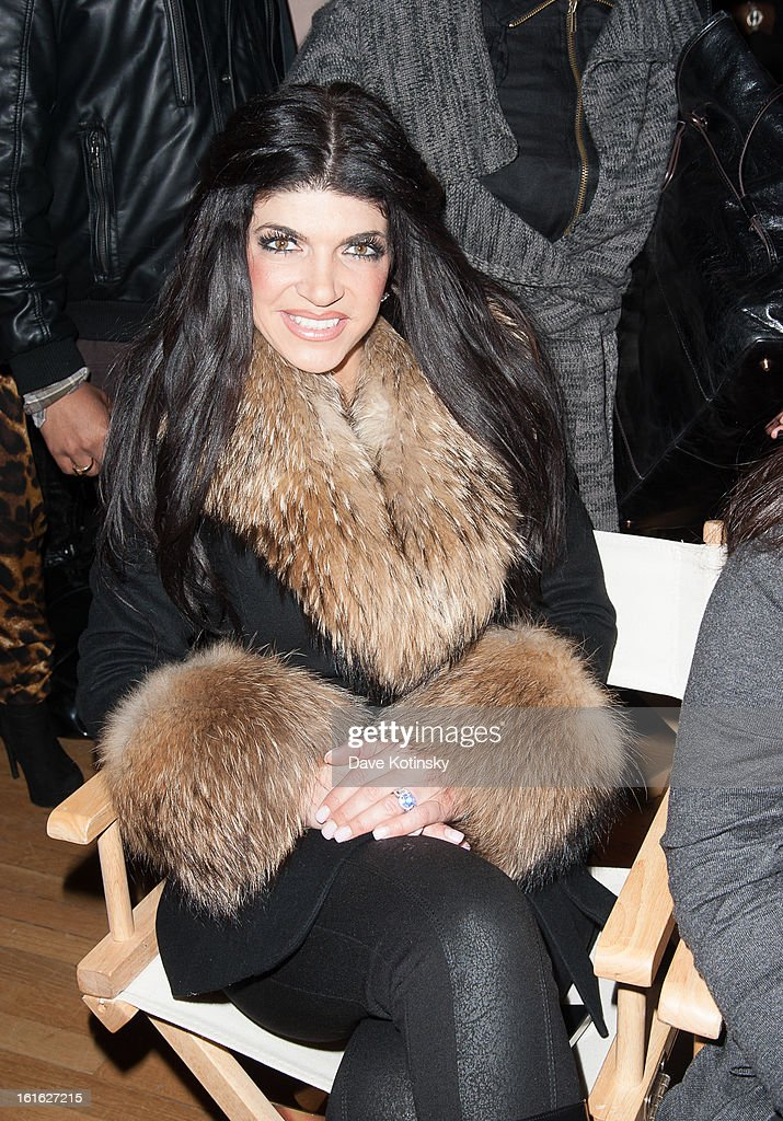 <a gi-track='captionPersonalityLinkClicked' href=/galleries/search?phrase=Teresa+Giudice&family=editorial&specificpeople=5912953 ng-click='$event.stopPropagation()'>Teresa Giudice</a> sits in front row at the Boy Meets Girl By Stacy Igel 2013 Style360 Fashion Show at Style360 on February 13, 2013 in New York City.