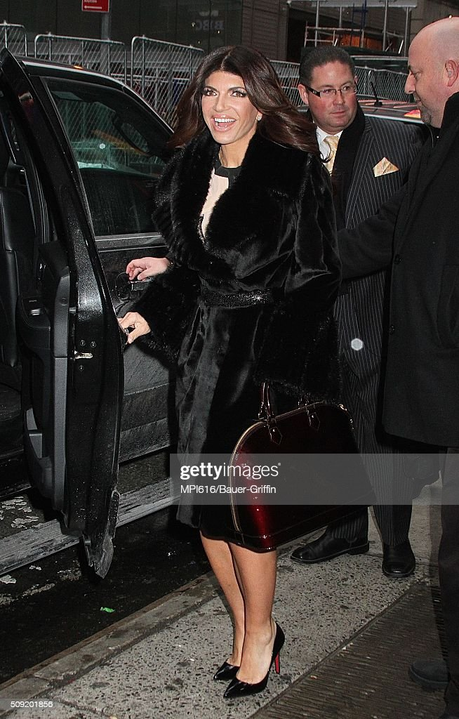 <a gi-track='captionPersonalityLinkClicked' href=/galleries/search?phrase=Teresa+Giudice&family=editorial&specificpeople=5912953 ng-click='$event.stopPropagation()'>Teresa Giudice</a> spotted leaving 'Good Morning America' where she promoted the release of her memoir 'Turning Tables: From Housewife to Inmate and Back Again' on February 09, 2016 in New York City.