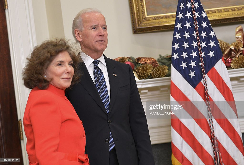Teresa Heinz Kerry (L) and US Vice President Joe Biden wait for the arrival of US President Barack Obama and Heinz Kerry's husband Senator John Kerry D-MA on December 21, 2012 in the Roosevelt Room of the White House in Washington, DC. Obama announced Kerry as his choice for the next secretary of state. AFP PHOTO/Mandel NGAN
