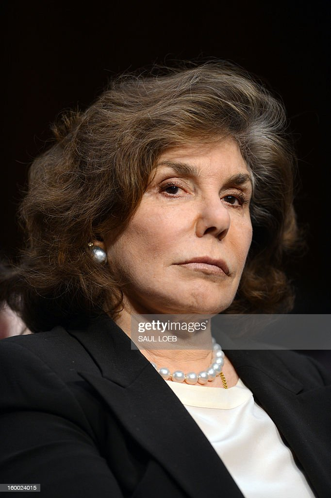 Teresa Heinz Kerry listens as her husband US Senator John Kerry(D-MA), US President Barack Obama's nominee for Secretary of State, testifies before the Senate Foreign Relations committee during his confirmation hearing on Capitol Hill in Washington, DC, on January 24, 2013. AFP PHOTO / Saul LOEB
