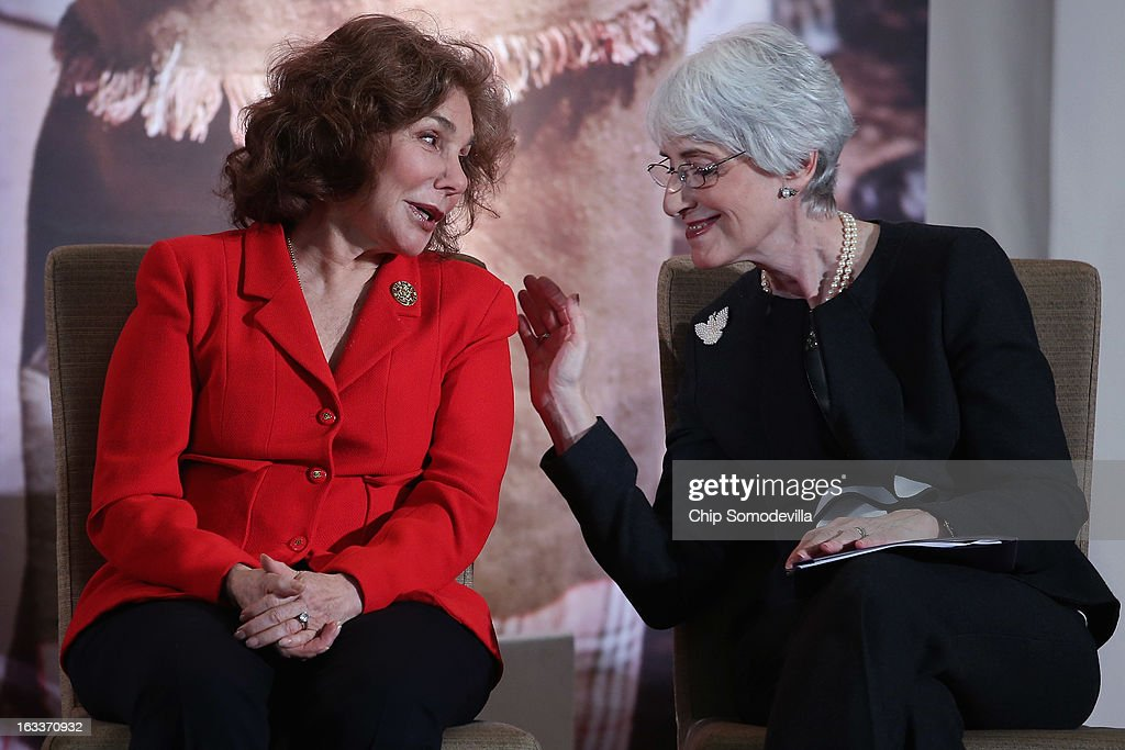 Teresa Heinz Kerry (L), wife of U.S. Secretary of State John Kerry, talks with Under Secretary for Political Affairs Wendy Sherman during the International Women of Courage Awards Ceremony at the State Department March 8, 2013 in Washington, DC. In celebration of the 102nd International Women's Day, the State Department honored nine women from around the world with the International Women of Courage Award, including the 23-year-old Indian woman known only as 'Nirbhaya,' who died from injuries she received after being gang raped by six men last December in Delhi.