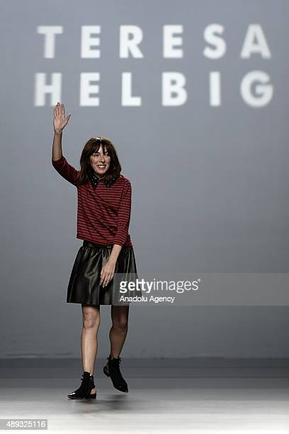 Teresa Helbig greets the audience after presenting 2016 Spring/Summer collection during Mercedes Benz Fashion Week Madrid on September 20 in Madrid...