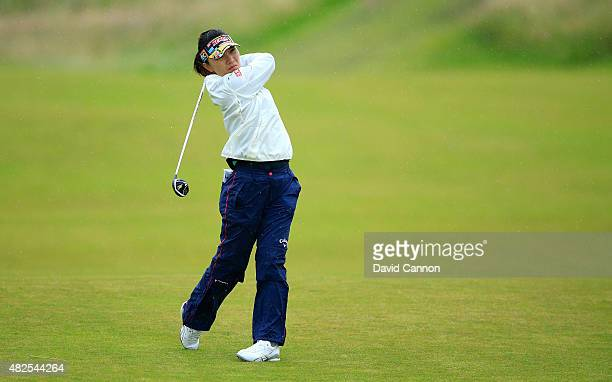 Teresa Lu of Chinese Taipei hits her 2nd shot on the 17th hole during the Second Round of the Ricoh Women's British Open at Turnberry Golf Club on...