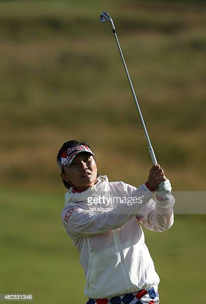 Teresa Lu of Chinese Taipei hits her 2nd shot on the 3rd hole during the First Round of the Ricoh Women's British Open at Turnberry Golf Club on July...