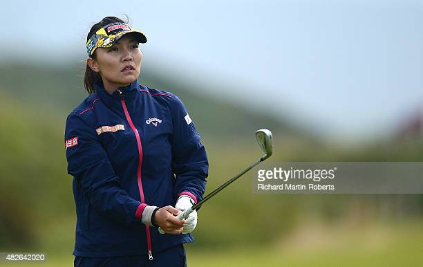 Teresa Lu of Chinese Taipei hits her 2nd shot on the 5th hole during the Third Round of the Ricoh Women's British Open at Turnberry Golf Club on...