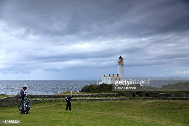 Teresa Lu of Chinese Taipei plays her second shot at the par 4 9th hole during the third round of the 2015 Ricoh Women's British Open on the Ailsa...