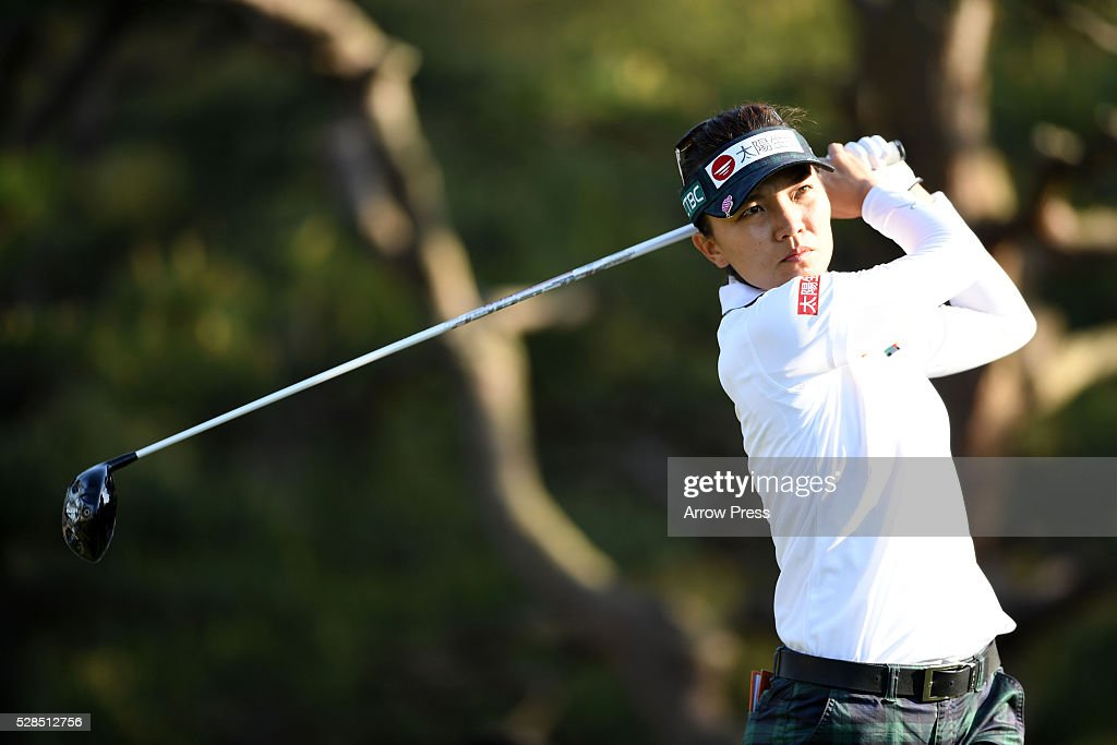 Teresa Lu of Taiwan 7th hole during the first round of the World Ladies Championship Salonpas Cup at the Ibaraki Golf Club on May 5, 2016 in Tsukubamirai, Japan.