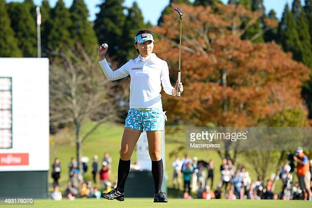 Teresa Lu of Taiwan celebrates after winning putt on the 18th green during the third round of the Fujitsu Ladies 2015 at the Tokyu Seven Hundred Club...