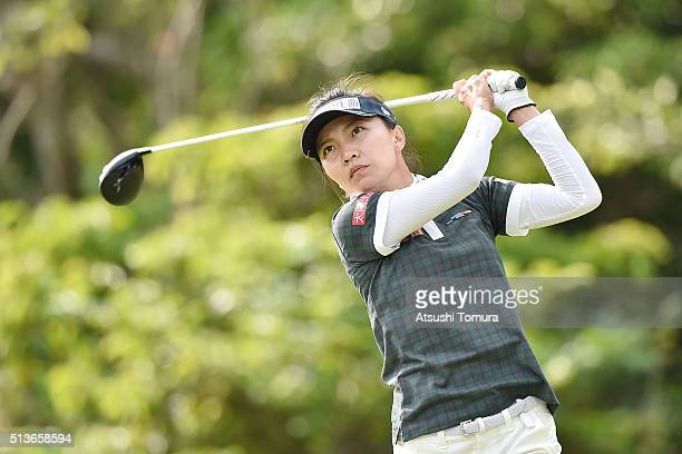 Teresa Lu of Taiwan hits her tee shot on the 12th hall during the second round of the Daikin Orchid Ladies Golf Tournament at the Ryukyu Golf Club on...