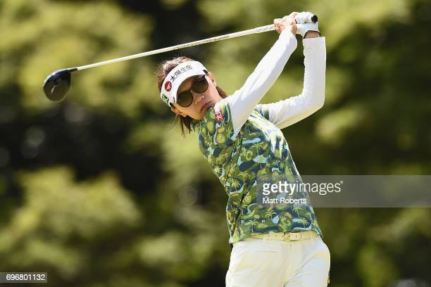 Teresa Lu of Taiwan hits her tee shot on the 12th hole during the second round of the Nichirei Ladies at the on June 17 2017 in Chiba Japan