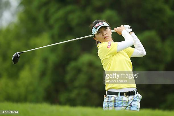 Teresa Lu of Taiwan hits her tee shot on the 13th hole during the Suntory Ladies Open at the Rokko Kokusai Golf Club on June 14 2015 in Kobe Japan
