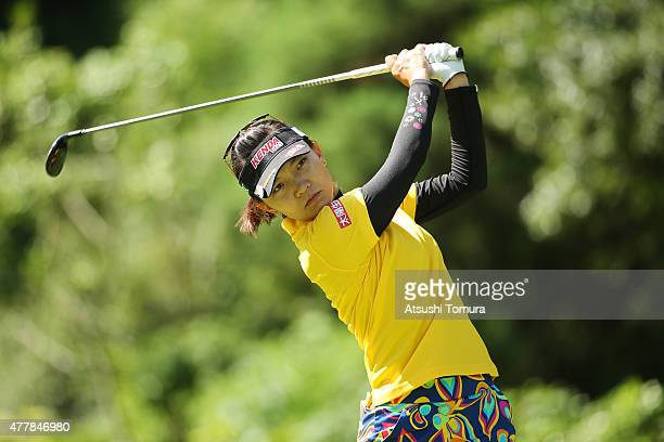 Teresa Lu of Taiwan hits her tee shot on the 2nd hole during the second round of the Nichirei Ladies at the Sodegaura Country Club Shinsode Course on...