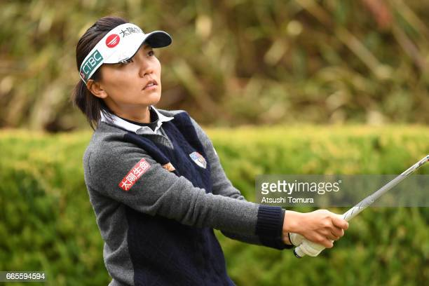 Teresa Lu of Taiwan hits her tee shot on the 2nd hole during the first round of the Studio Alice Open at the Hanayashiki Golf Club Yokawa Course on...