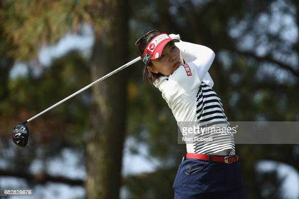 Teresa Lu of Taiwan hits her tee shot on the 3rd hole during the final round of the HokennoMadoguchi Ladies at the Fukuoka Country Club Wajiro Course...