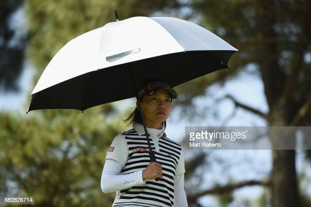 Teresa Lu of Taiwan looks on after her tee shot on the 3rd hole during the final round of the HokennoMadoguchi Ladies at the Fukuoka Country Club...