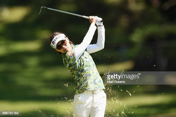 Teresa Lu of Taiwan of Taiwan plays her approach shot on the 10th hole during the second round of the Nichirei Ladies at the on June 17 2017 in Chiba...