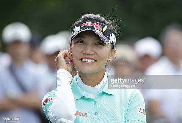 Teresa Lu of Taiwan on the third hole during the final round of the 48th LPGA Championship Konica Minolta Cup 2015 at the Passage Kinkai Island Golf...