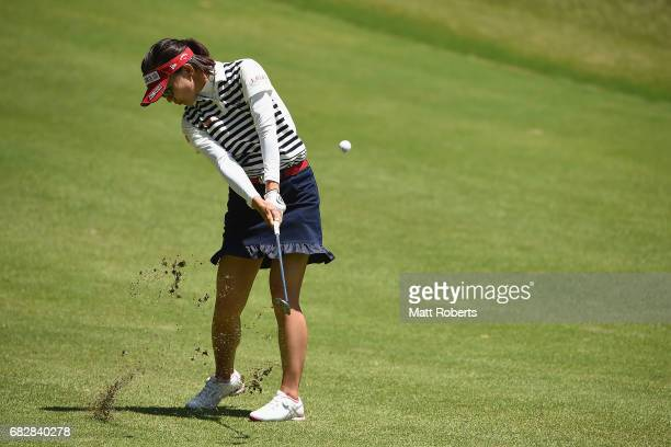Teresa Lu of Taiwan plays her approach shot on the 17th hole during the final round of the HokennoMadoguchi Ladies at the Fukuoka Country Club Wajiro...
