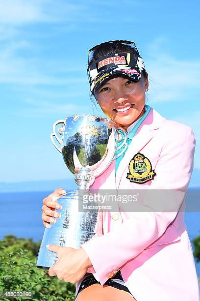Teresa Lu of Taiwan poses with the trophy during a ceremony following the 48th LPGA Championship Konica Minolta Cup 2015 at the Passage Kinkai Island...