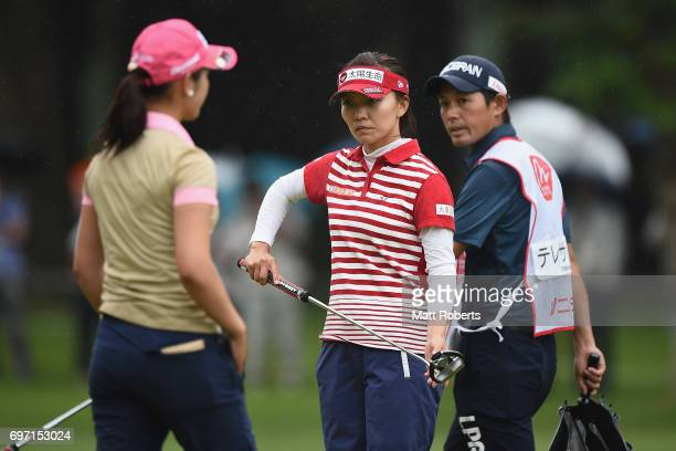 Teresa Lu of Taiwan prepares to putt on the 18th green during the final round of the Nichirei Ladies at the on June 18 2017 in Chiba Japan