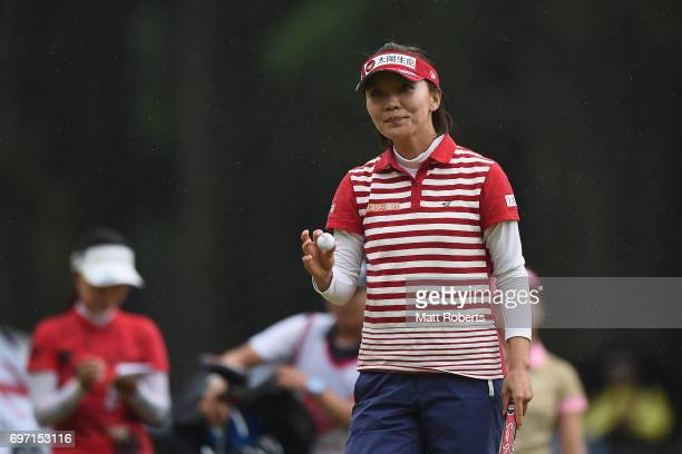 Teresa Lu of Taiwan reacts after her putt on the 18th green during the final round of the Nichirei Ladies at the on June 18 2017 in Chiba Japan