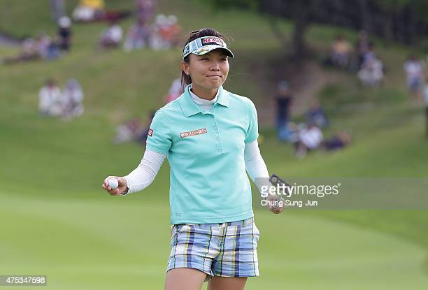 Teresa Lu of Taiwan reacts after the winning putt on the 18th hole in the final round during the Resorttrust Ladies at the Maple Point Golf Club on...